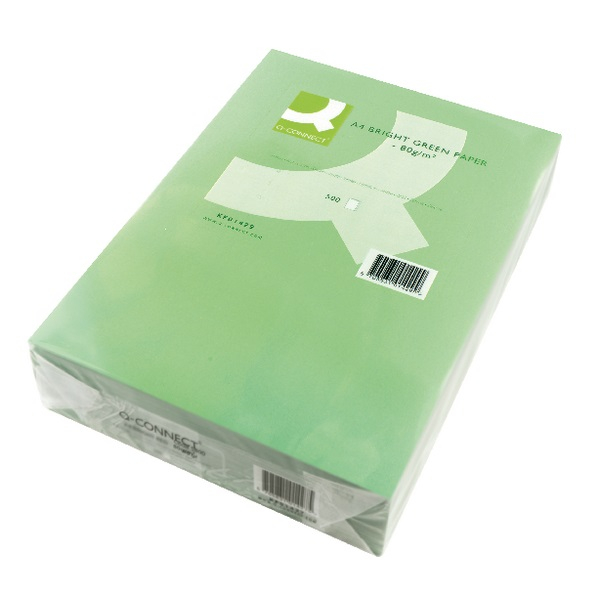 Q-Connect Bright Green Coloured A4 Copier Paper 80gsm Ream (Pack of 500) - KF01429